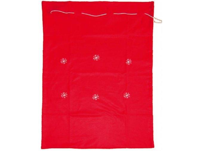 Mikulášský pytel červený s vločkami 90x60cm 5816