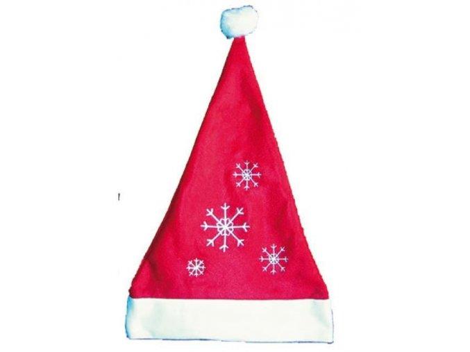 Mikulášská čepice červená s vločkami 40x30cm 5818 -  10 POSLEDNÍ KUSY -