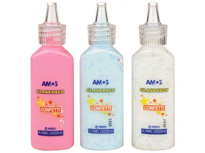Barvičky na sklo 22 ml s konfetami jednotlivé 6 odstínů