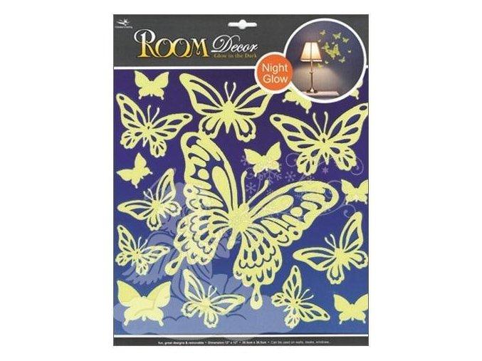 Samolepky na zeď motýli svítící ve tmě 604, 31x29cm