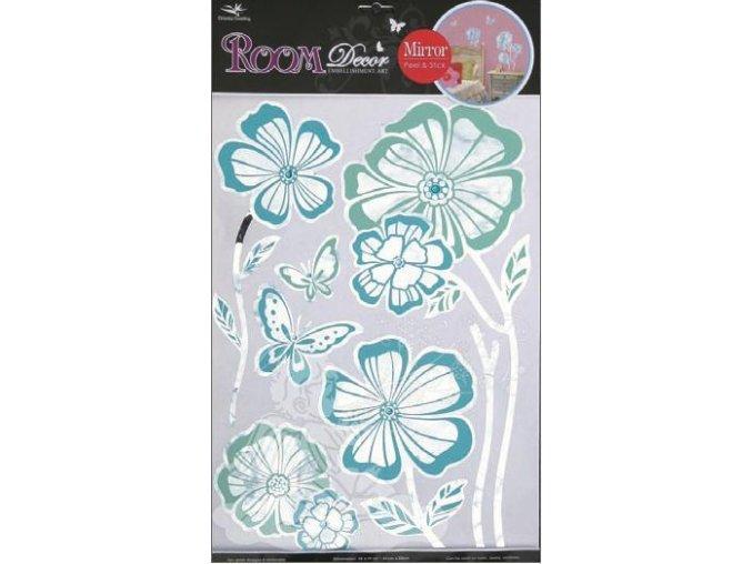 Samolepky na zeď květy s modrou konturou zrcadlové 1052, 49x29cm - 2 POSLEDNÍ KUSY -