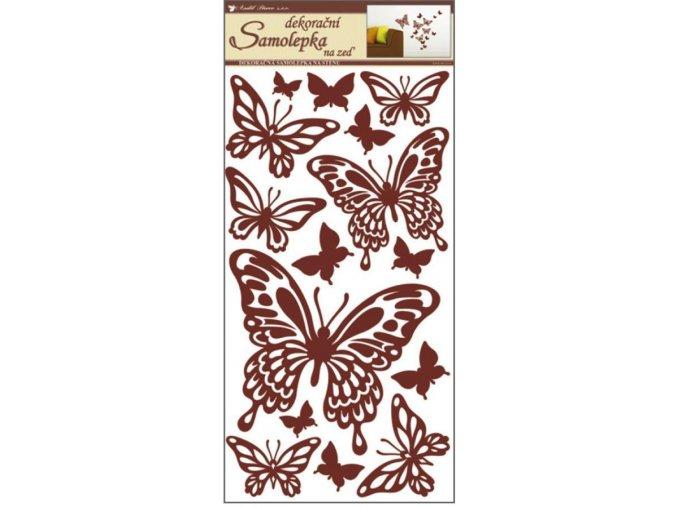 Samolepky na zeď motýli hnědí 10037, 69x32cm