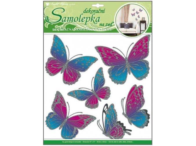 Samolepky na zeď motýli růžovomodří s pohyblivými stříbrnými křídly 10044, 39x30cm