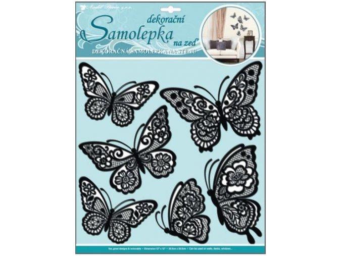 Samolepky na zeď motýli s pohyblivými krajkovými černými křídly 10045, 39x30cm