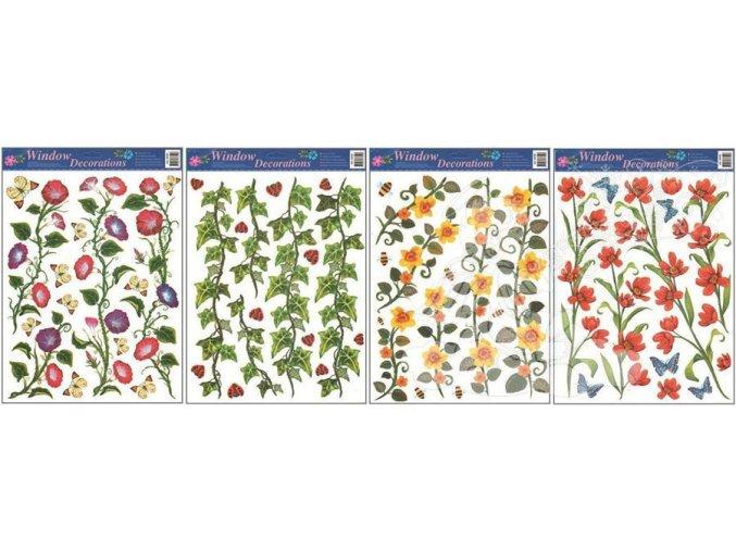 Okenní fólie 4 druhy s břečťanem 861, 42 x 30cm