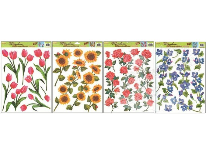 Okenní fólie 4 druhy květin 862, 42x30cm