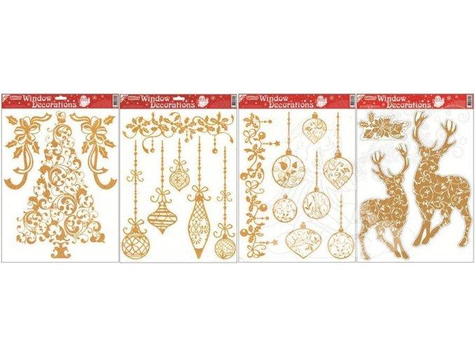 Fólie baňky, stromek, jelen se zlatými glitry 303, 42x30cm