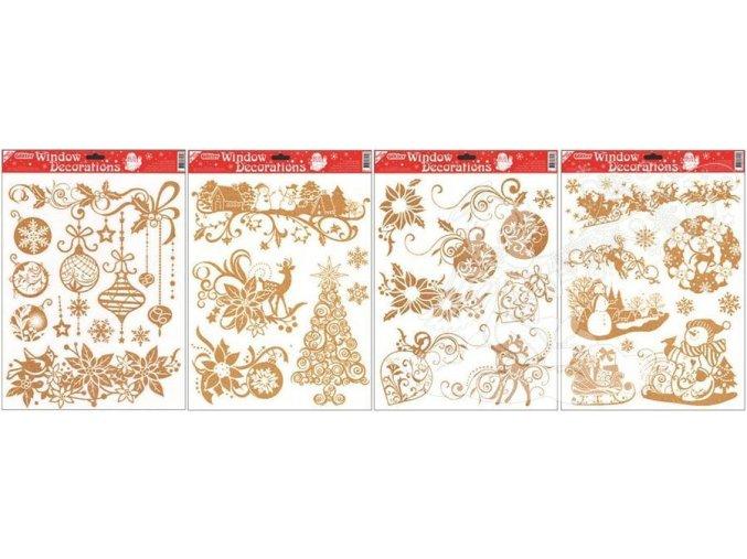 Fólie více motivů se zlatými glitry 304, 42x30cm