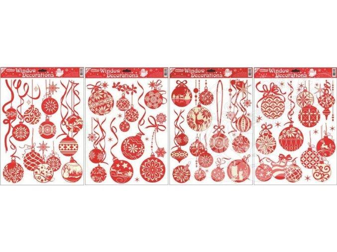 Fólie červené baňky s bílými glitry 309, 42x30cm