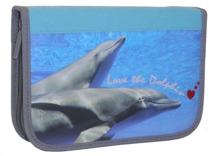 Penál jednopatrový se 2 klopami delfín