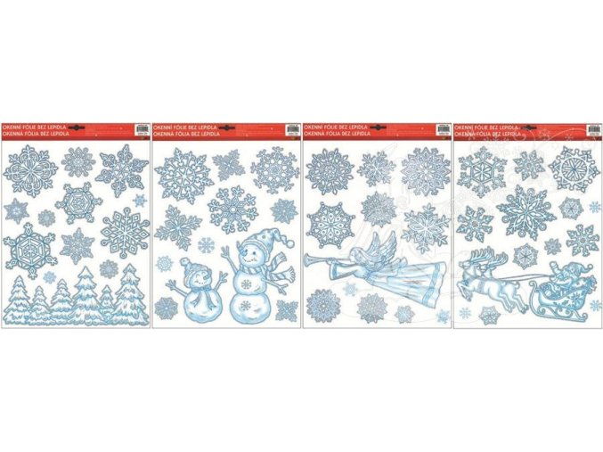 Fólie ledové vločky s lesíkem,sněhulákem,andělem 349, 42x30cm