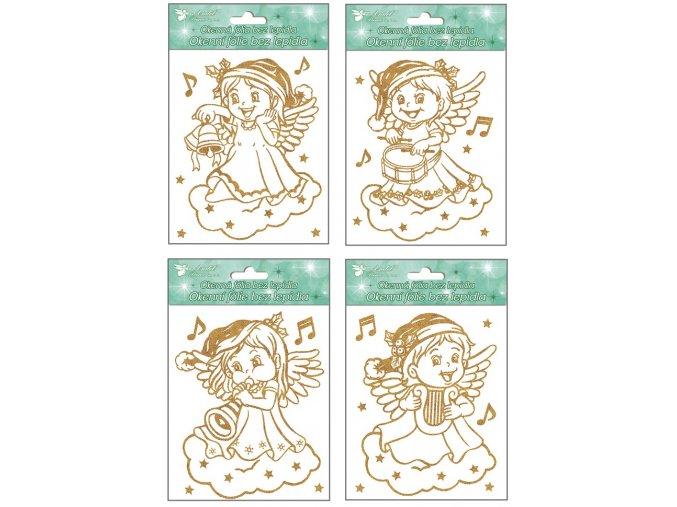 Okenní fólie andílci se zlatými glitry 387, 18x15cm