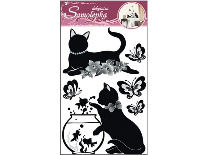 Samolepka na zeď černé kočky s akváriem 10063, 60x32cm