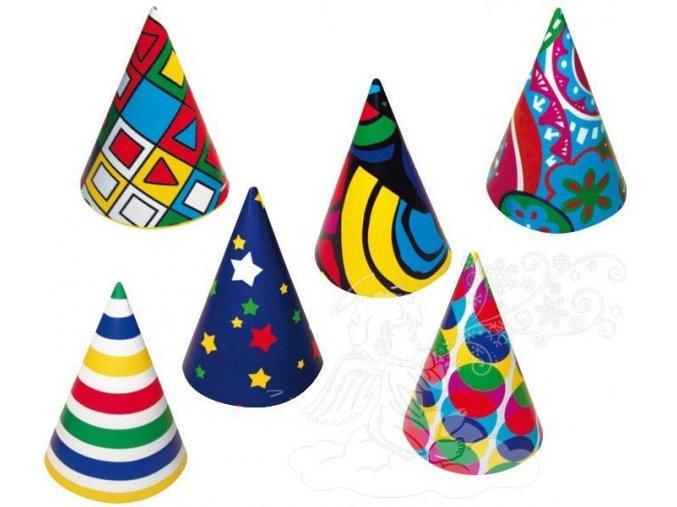 Karnevalový klobouček 6 ks v balení - barevný 9007