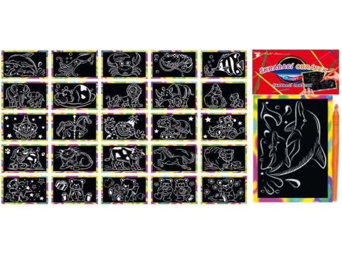 Vyškrabávací obrázky s duhovým podkladem 15x10cm 1630