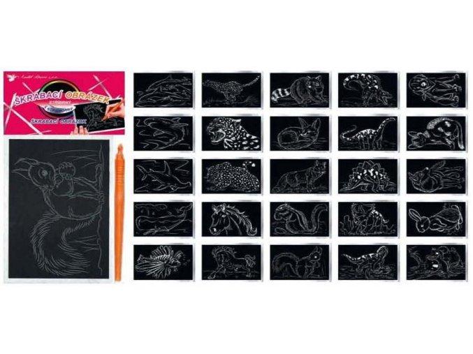 Vyškrabávací obrázky se stříbrným podkladem 15x10cm 1631