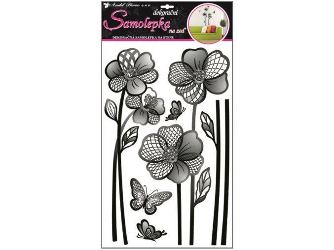 Samolepky na zeď velké květy s rastrem 10083 , 60x32cm