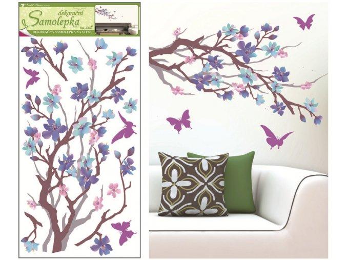 Samolepky na zeď purpurovo-fialová větvička 10089 , 69x32cm