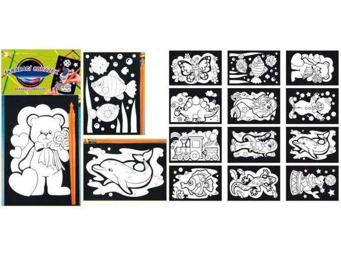 Vyškrabávací obrázky s barevnými ornamenty 15x10cm 1646