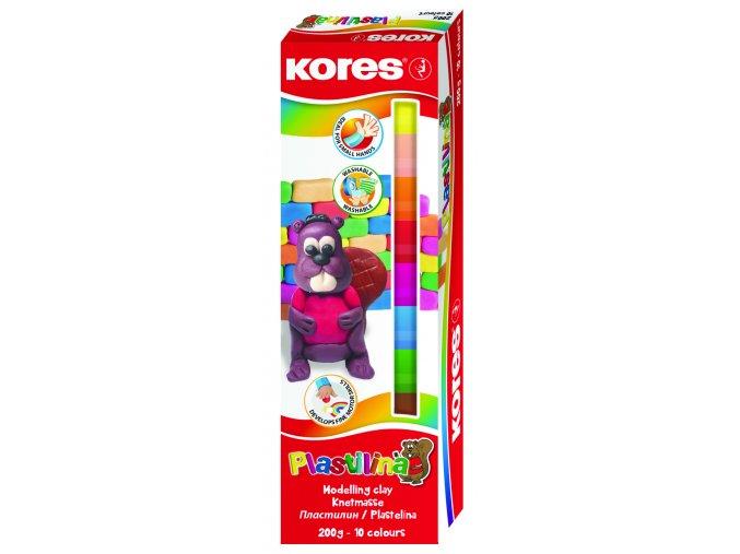 Plastelína (modelína) 10 barev v papírové krabičce Kores 200g