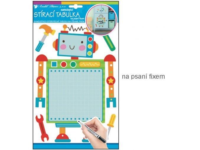 Samolepka tabulka na psaní fixem robot 10131 ,  34x21cm