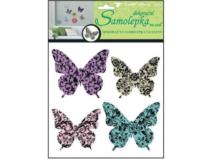 Samolepky na zeď 3D motýli s ornamenty 10153 , 30x22x1cm, 4ks