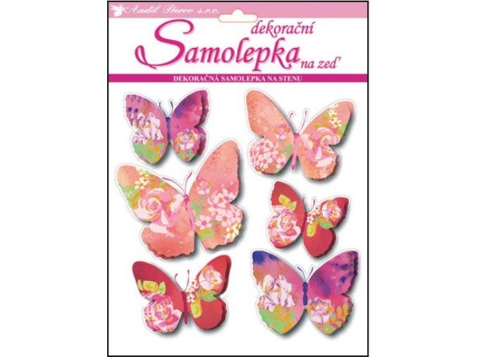 Samolepky na zeď 3D motýli s květinovým dekorem 10152 , 30x22x1cm, 6ks
