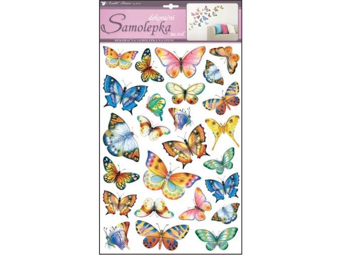 Samolepky na zeď barevní motýli 10142 ,  53x29cm