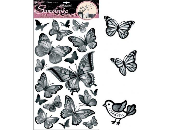 Samolepky na zeď černošedí motýli 10146 , 70x32cm