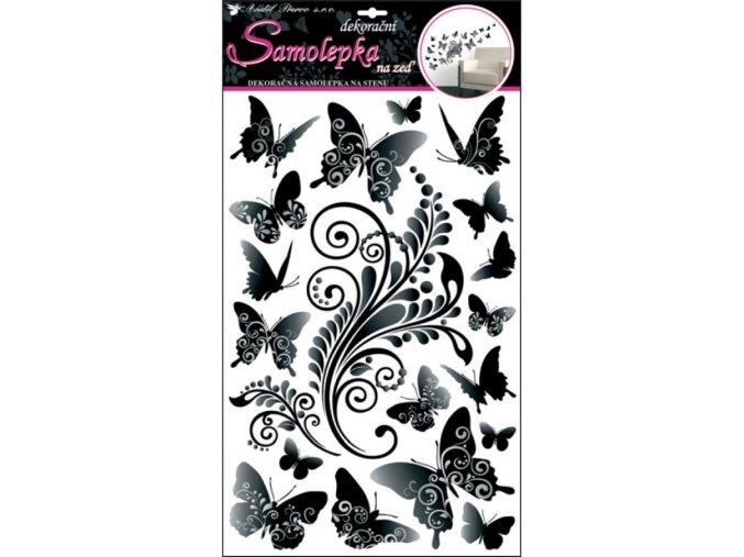 Samolepky na zeď černošedí motýlci 10147 , 60x32cm