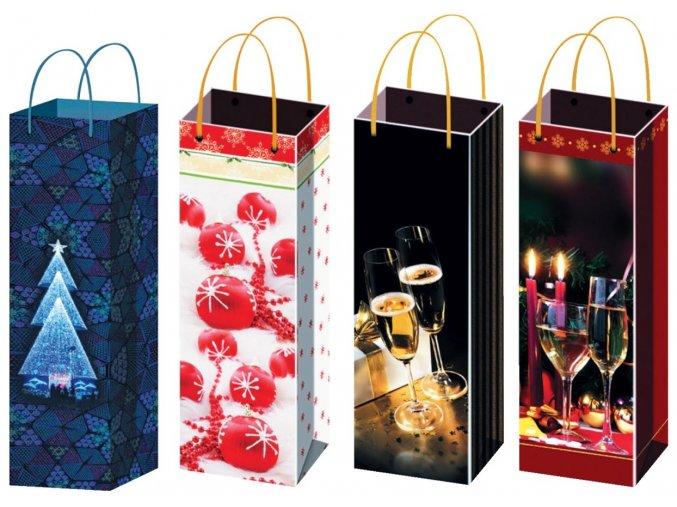 Taška vánoční na lahev F 12100 , 36x12x9cm - 5 POSLEDNÍ KUSY -