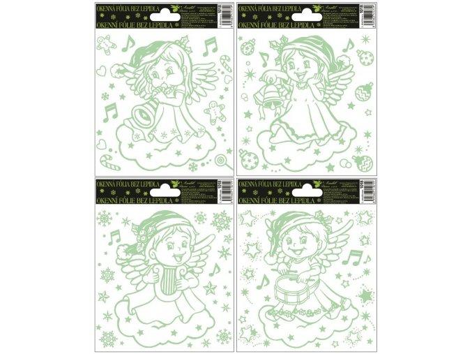 Fólie andílci svítící ve tmě 1018 , 18x15cm
