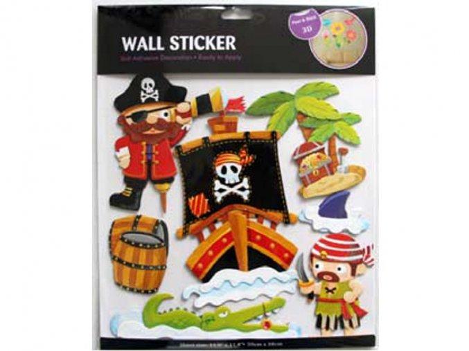 Samolepící dekorace na stěnu 3D Piráti 30 x 30