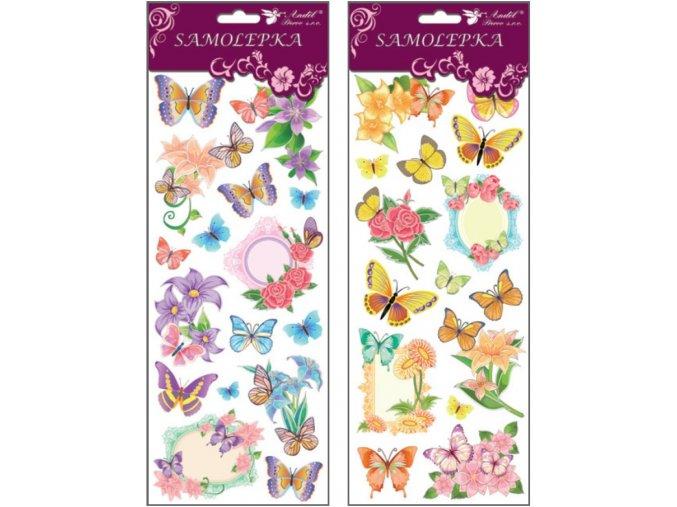 Samolepky motýlci a květiny s glitry 34,6x12,8 cm , 1253