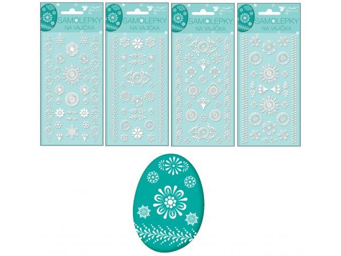 Samolepky velikonoční gelové bílé 19 x 9cm 832