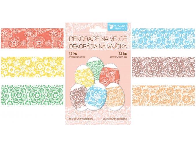 Smršťovací dekorace na vejce krajka, 12ks v balení 834