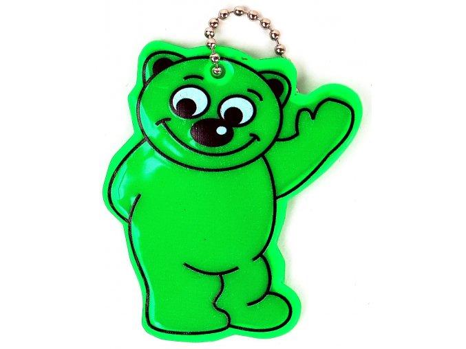 Přívěšek reflexní Méďa zelený