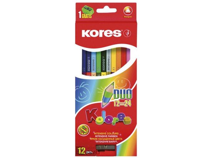 Pastelky Kores Kolores trojhranné - oboustranné / 24 barev
