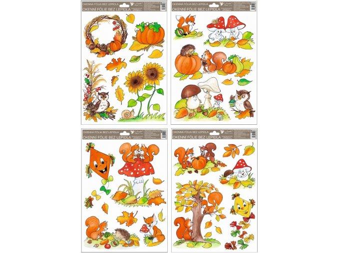 Okenní fólie ručně malovaný podzim sovy,veverky,lišky 946 , 37x26 cm