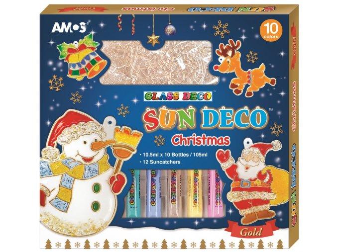 Vánoční sada barviček na sklo 10 barev 10,5 ml + 12 sklíček 1483