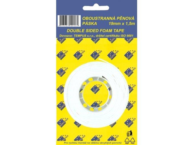 Lepící páska oboustr. 19 x 1,5 pěnová