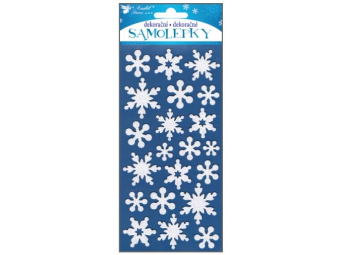 Samolepky bílé vločky s glitry z EVA pěny 10193 , 20 x 10 cm