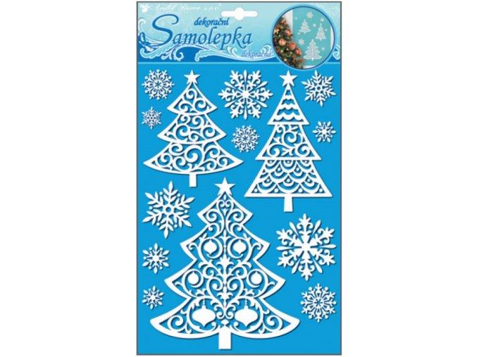 Samolepky stromečky se sněhovým efektem s glitry 10499 ,  26x18,5cm