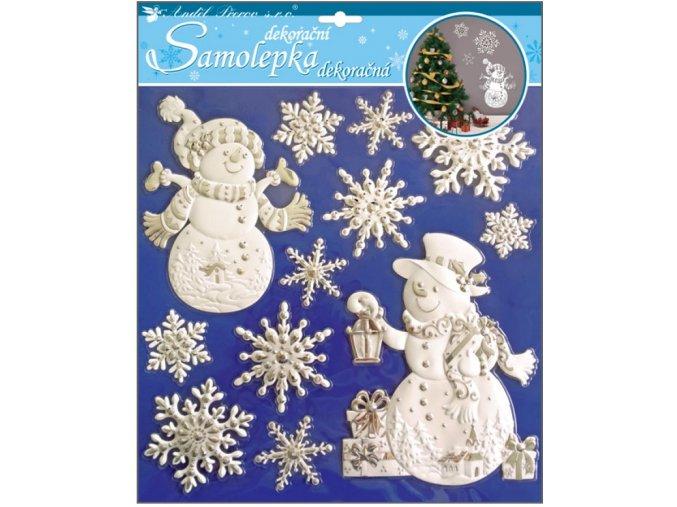 Samolepky sněhuláci a vločky vypouklé 10301 , 31,5 x 30,5 cm