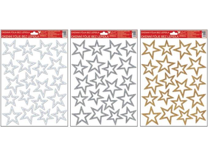 Okenní fólie s glitrem stříbrné,zlaté,bílé hvězdy 481 , 37x26 cm