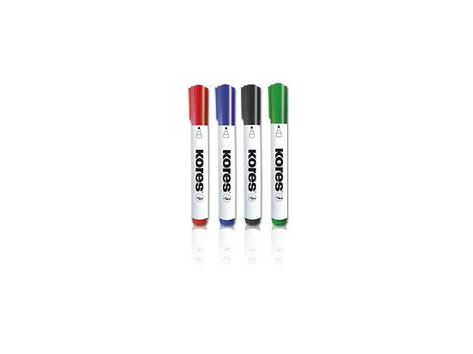 KORES Popisovač K-Marker na bílé tabule a flipcharty - 4 barvy