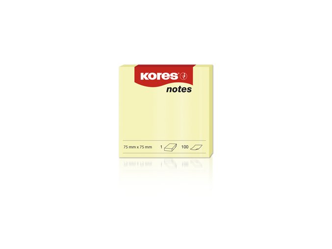 Samolepící bločky žluté KORES 75X75
