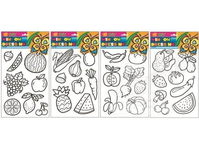 Předlohy na malování na sklo s vyvýšenou konturou ovoce a zelenina 31x20cm 1546