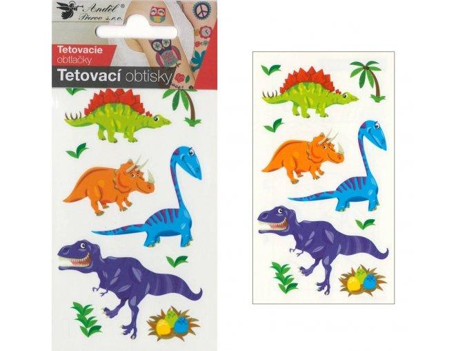 Tetovací obtisky 10,5x6 cm- malí dinosauři , 1106