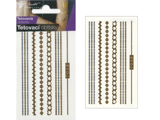 Tetovací obtisky metalické 10,5x6 cm- řetízky , 1113